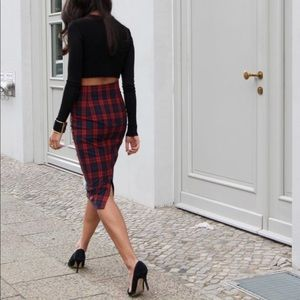 Zara Plaid Midi Pencil Skirt